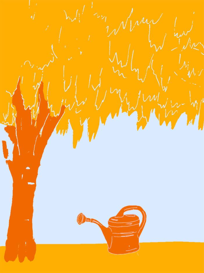Skizze einen Baumes mit Gießkanne in Sommerfarben