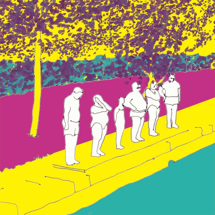 Skizze einer Kunstinstallation auf der Bugs in Heilbronn 2019 - Schwimmer am Kanalrand