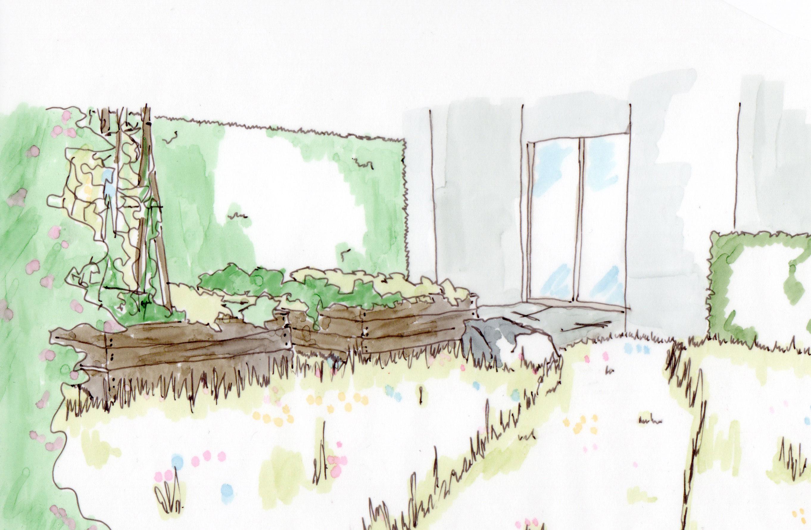 perspektive in einem kleinen Garten