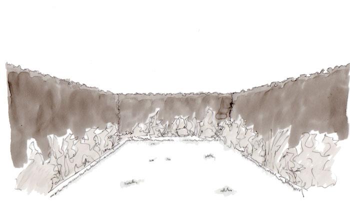 Skizze s/w einen kleinen Gartens mit umlaufender Beeteinfassung. Der Garten wirkt übersichtlich, weckt aber keine Neugier.