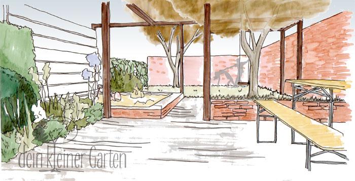 Grafik Garten Konzept Blick über Terrasse