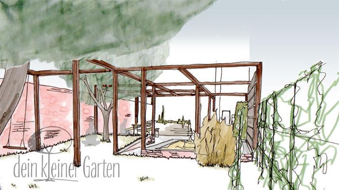 Grafik Garten Konzept Blick über Rasenfläche