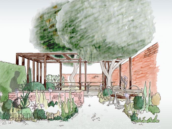 Grafik Garten Konzept Blick aus dem Esszimmer