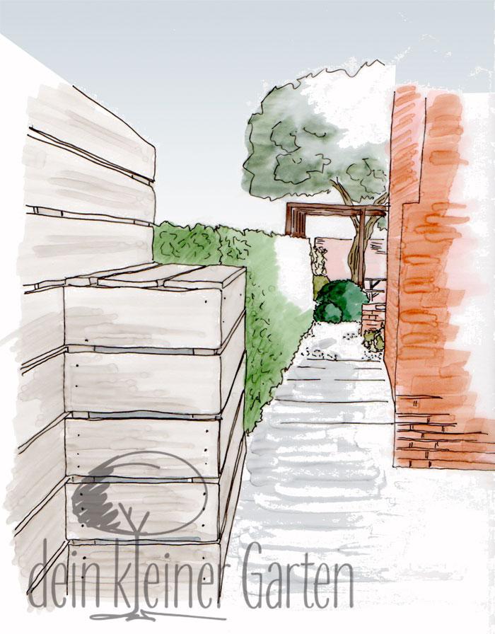 Perspektive eines Konzepts für einen langgestreckten Garten