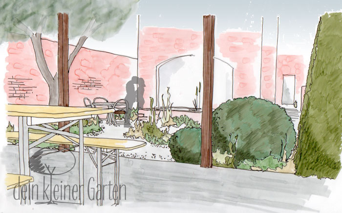 Grafik Garten Konzept Blick von der Terrasse zum Esszimmer
