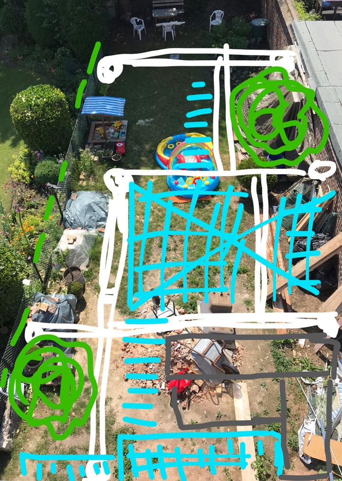 Foto eines Gartens von oben mit einskizzierten Linien