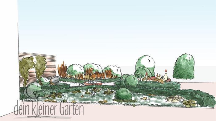 Handzeichnung, koloriert: Perspektischer Blick in einen Reihenhausgarten von der sekundären Terrasse in den Grünzug außerhalb des Gartens. Die kreuzförmig angeordneten Beete liegen schräg zur Sichtachse und bilden so dynamische Blickbeziehungen.