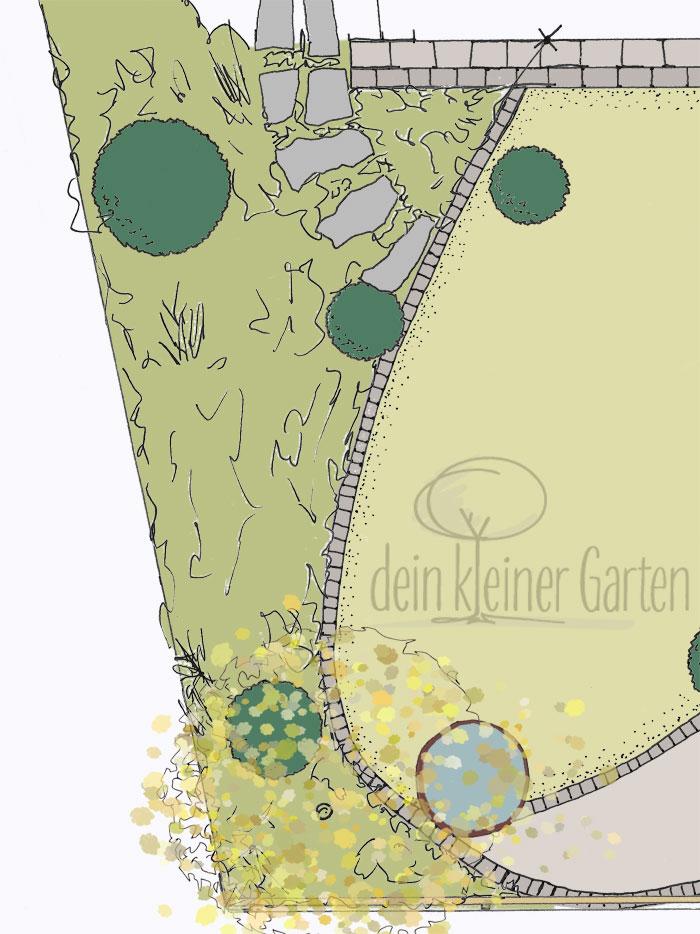 Ausschnitt eines Entwurfs für einen Reihenhausgarten