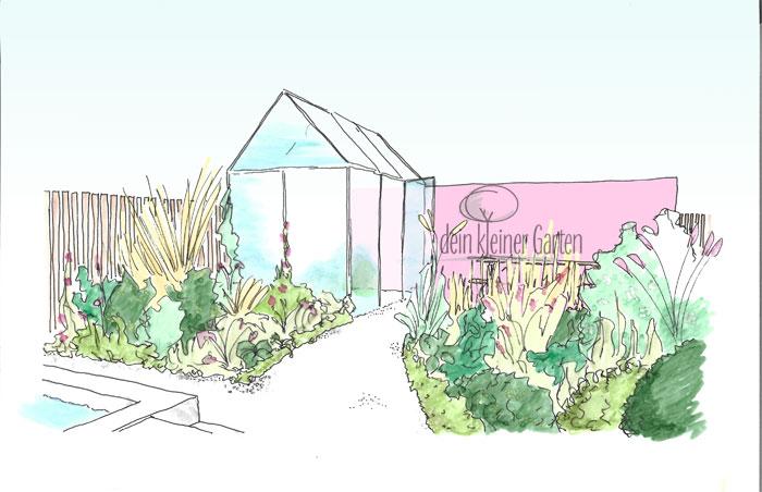 Zeichnung, coloriert: Perspektive eines Reihenhausgartens mit Gewächshaus